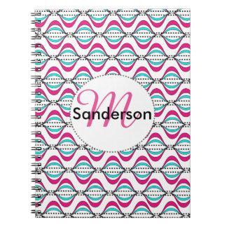 Fresh Bright Stylish Swirly Stripes Design Notebook