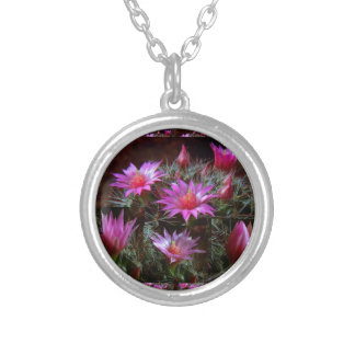 Fresh CACTUS Cacti Flower: Wild Exotic Floral Show Round Pendant Necklace