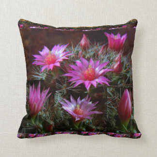 Fresh CACTUS Cacti Flower: Wild Exotic Floral Show Throw Cushions