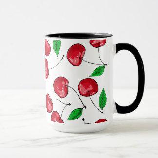 Fresh cherries pattern mug