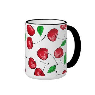 Fresh cherries pattern ringer mug