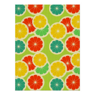Fresh Citrus Fruit Design, Cute Colorful Poster