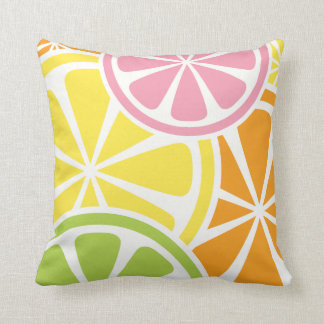 Fresh Citrus Fruit Slices Summer Throw Pillow