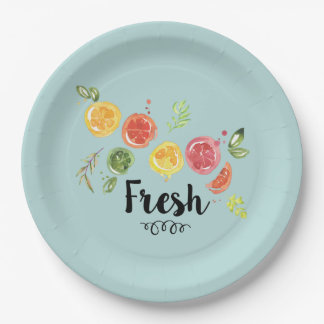 Fresh -  Citrus Fruits in Watercolor Paper Plate