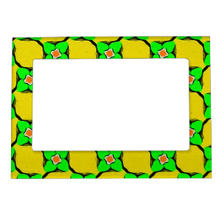 Fresh Citrus Yellow Lemon Garden Pattern Magnetic Frame