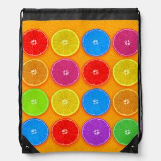 Fresh Colorful Orange Slices Drawstring Bag