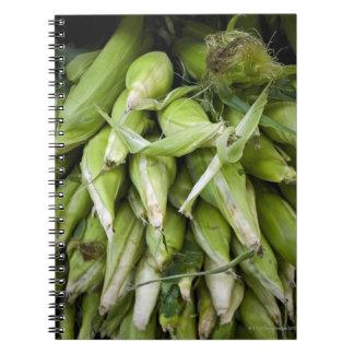 Fresh corn in market notebooks