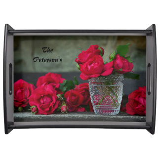 Fresh-Cut Red Roses Serving Tray