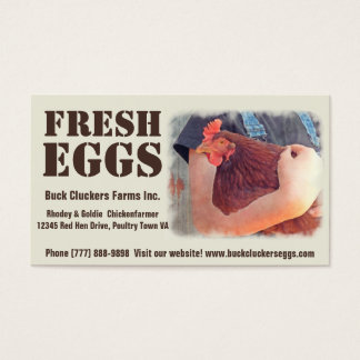 Fresh  Eggs - Red hen Layer Chicken Business Card