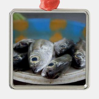 Fresh fish on fish market Mercado de Peixe), Silver-Colored Square Decoration