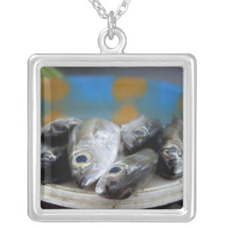 Fresh fish on fish market Mercado de Peixe), Silver Plated Necklace