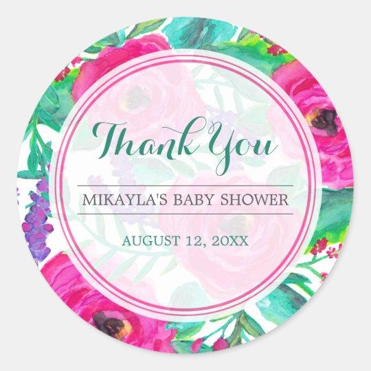 Fresh Florals Baby Shower Favour Sticker