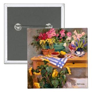 Fresh Flowers I 15 Cm Square Badge