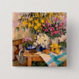 Fresh Flowers II 15 Cm Square Badge