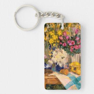Fresh Flowers II Double-Sided Rectangular Acrylic Keychain