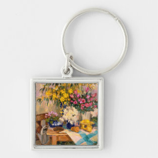 Fresh Flowers II Silver-Colored Square Key Ring