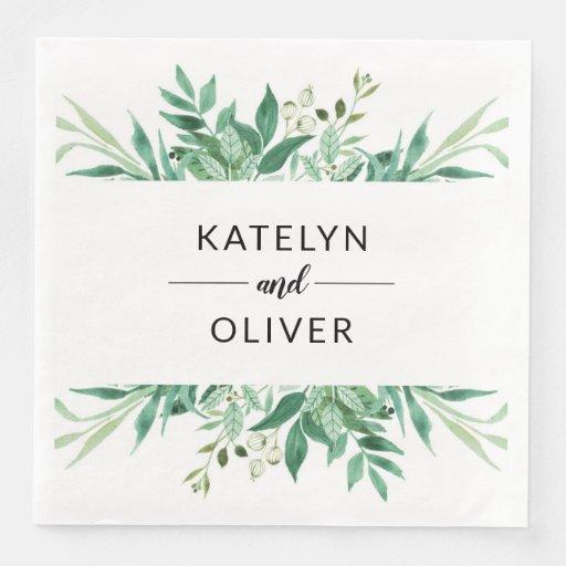 Fresh Foliage Botanical Frame Wedding Monogram Disposable Napkin