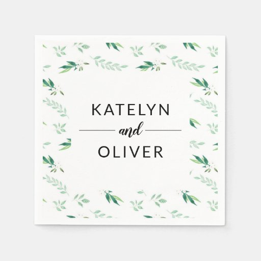 Fresh Foliage Botanical Pattern Wedding Monogram Disposable Napkin