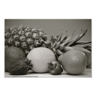 Fresh Fruit in Black and White Photo