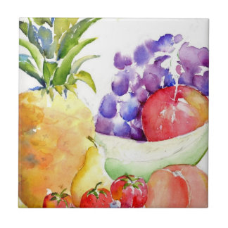 Fresh Fruit in Watercolors Tile