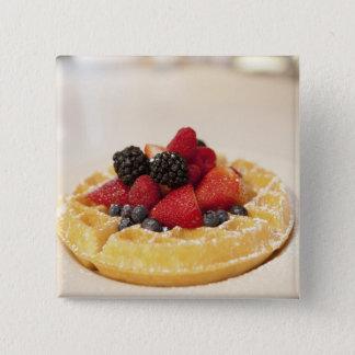 Fresh fruit waffle 15 cm square badge