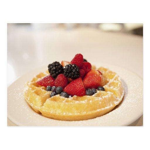 Fresh fruit waffle post card