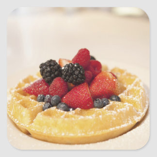 Fresh fruit waffle square sticker