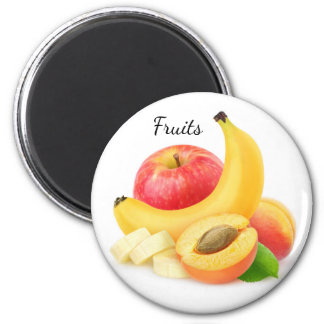 Fresh fruits 6 cm round magnet