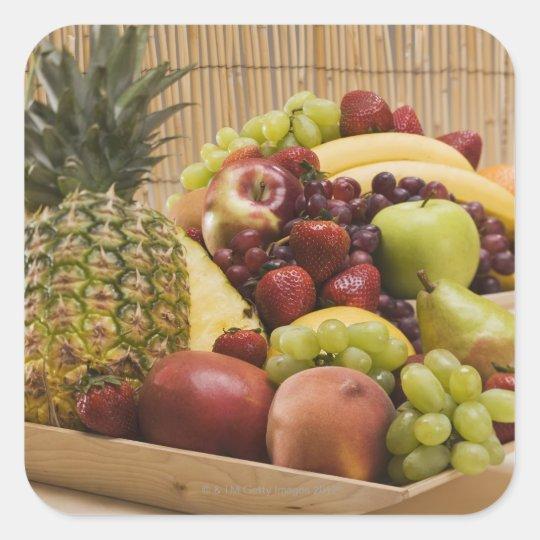 Fresh fruits square sticker