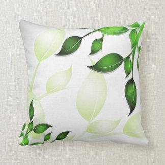 Fresh Garden Leaves on White American MoJo Throw Cushions