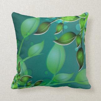 Fresh Garden Leaves Teal American MoJo Pillows