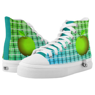 Fresh Green Apple Fruit Bright Tartan Chic Bright High Tops