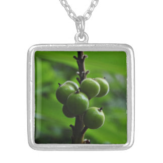 Fresh Green Nature Square Pendant Necklace