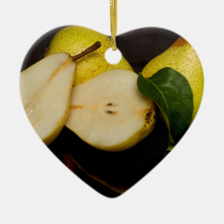 Fresh Green Pears Fruit Ceramic Heart Decoration