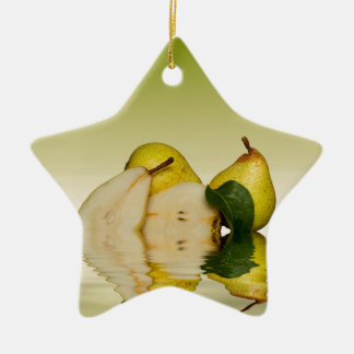 Fresh Green Pears Fruit Ceramic Star Decoration