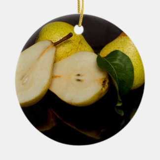 Fresh Green Pears Fruit Round Ceramic Decoration