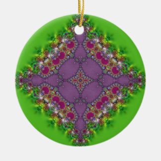 Fresh Green + Pink Lacy Design Ornament