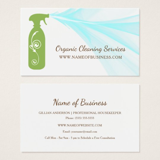 Fresh Green Spray Bottle Organic Cleaning Services Business