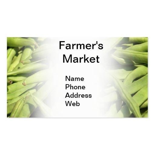 Fresh Green String Beans Business Card Templates