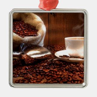 Fresh Ground Coffee Silver-Colored Square Decoration