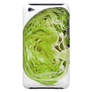 Fresh iceberg lettuce cut in half, on white barely there iPod covers