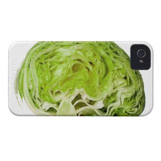 Fresh iceberg lettuce cut in half, on white iPhone 4 covers