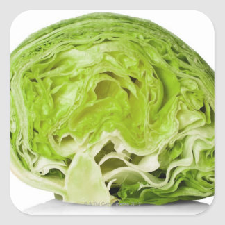 Fresh iceberg lettuce cut in half, on white square sticker