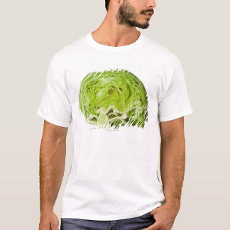 Fresh iceberg lettuce cut in half, on white T-Shirt