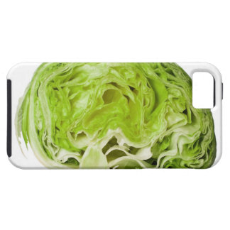 Fresh iceberg lettuce cut in half, on white tough iPhone 5 case