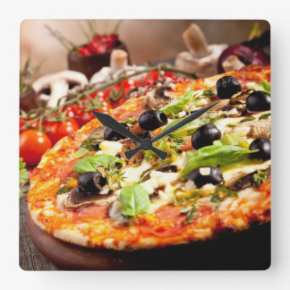 Fresh Italian pizza Square Wall Clock