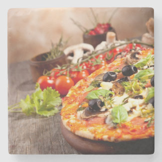 Fresh Italian pizza Stone Beverage Coaster