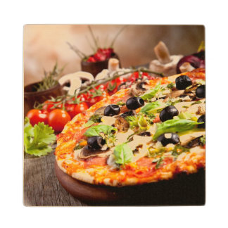 Fresh Italian pizza Wood Coaster