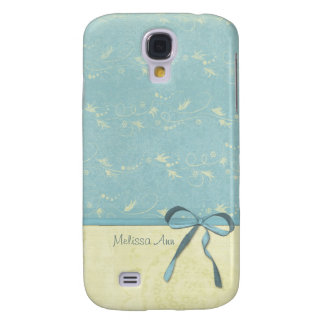 Fresh Lemon Vines Custom Personalized Name on Blue Galaxy S4 Case