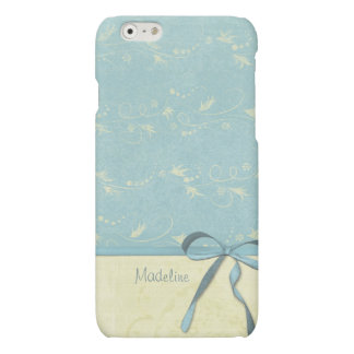Fresh Lemon Vines on Blue Custom Personalized Name iPhone 6 Plus Case